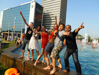 International students having fun in dutch city