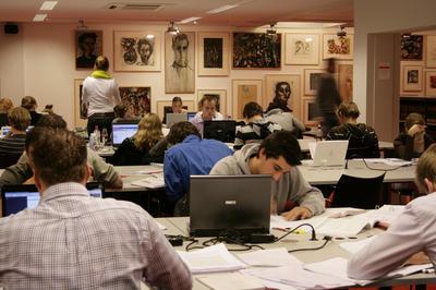 Art class in university in Holland