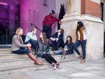 Staff_ Students and Graduates pose outside College Building for Prospectus 2014 - Wiki - Mast P.jpg
